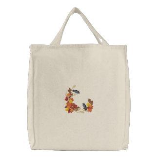 Autumn Chickadees Embroidered Bag
