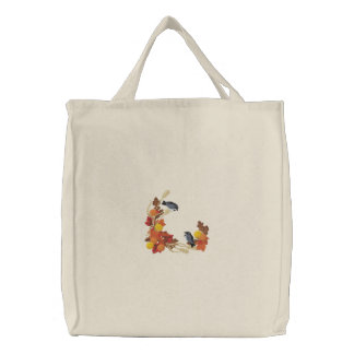 Autumn Chickadees Embroidered Tote Bag