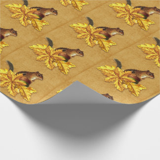 Autumn Chipmunk with Acron on Faux Canvas Wrapping Paper