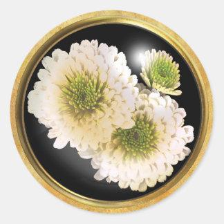 Autumn Chrysanthemum White Classic Round Sticker