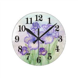 Autumn Circus and Art Deco Iris' Round Clock