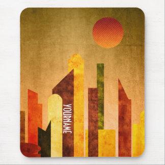 Autumn City Sunset Geometric Flat Urban Landscape Mouse Pad