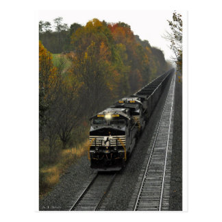 Autumn Coal Train Postcard