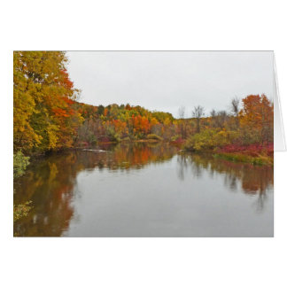AUTUMN COLOR REFLECTED IN MIRROR-LIKE LAKE SURFACE GREETING CARDS