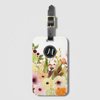 Autumn Colored Flowers Monogram Luggage Tag