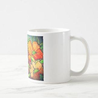 autumn colored flowers watercolor mug