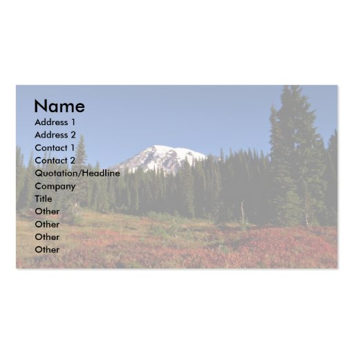 Autumn colors and summit, Mt. Rainer, Washington Business Card Templates