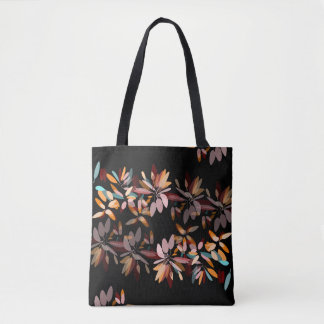 Autumn colors black background foliage print tote bag