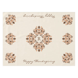 Autumn colors damask formal Thanksgiving monogram Tablecloth