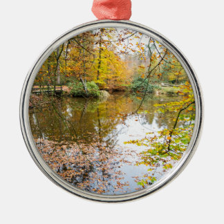 Autumn colors in forest with pond Silver-Colored round decoration