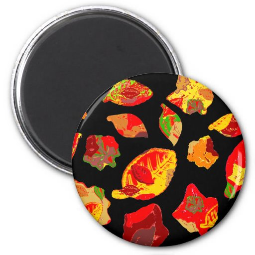Autumn Colors Leaf Pattern Refrigerator Magnets