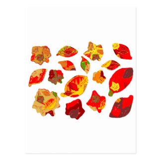 Autumn Colors Leaf Pattern Post Card