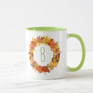 Autumn Colors Leafs Wreath Illustration Mug