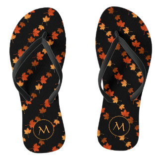 Autumn Colors Maple Leaves pattern monogrammed Thongs