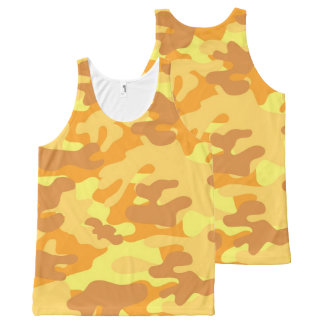 Autumn Colors Orange and Yellow Camouflage Print All-Over Print Singlet