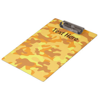 Autumn Colors Orange and Yellow Camouflage Print Clipboard