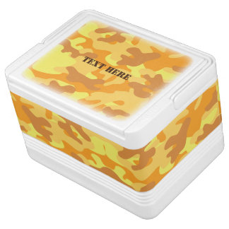 Autumn Colors Orange and Yellow Camouflage Print Cooler