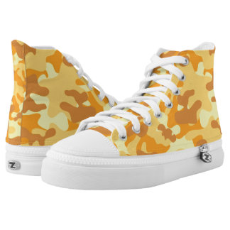 Autumn Colors Orange and Yellow Camouflage Print High Tops