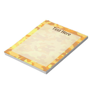 Autumn Colors Orange and Yellow Camouflage Print Notepad