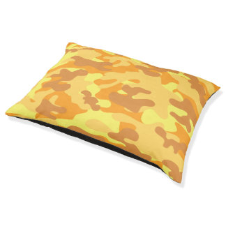 Autumn Colors Orange and Yellow Camouflage Print Pet Bed
