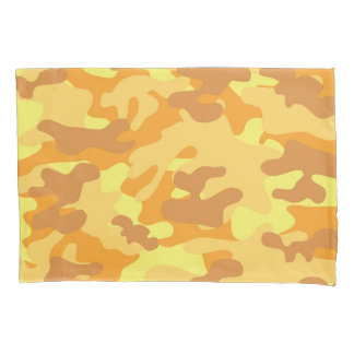 Autumn Colors Orange and Yellow Camouflage Print Pillowcase