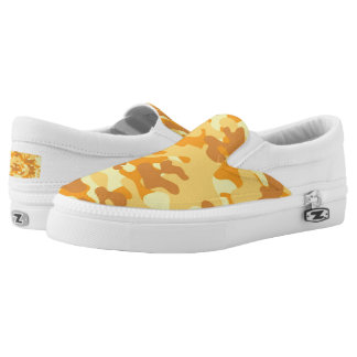 Autumn Colors Orange and Yellow Camouflage Print Slip-On Shoes