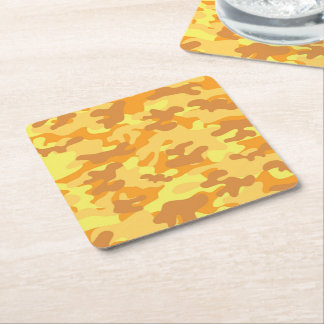 Autumn Colors Orange and Yellow Camouflage Print Square Paper Coaster