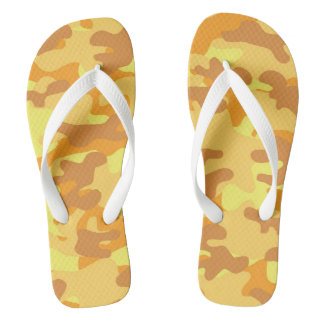 Autumn Colors Orange and Yellow Camouflage Print Thongs