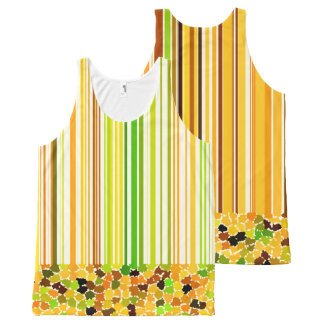 Autumn Colors Orange Red Yellow Apple Green Brown All-Over Print Singlet