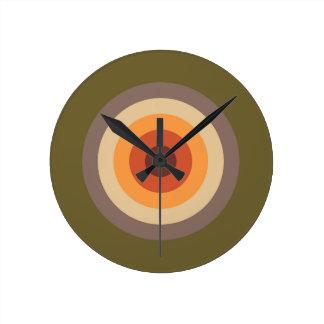 Autumn Colors - Red Orange Yellow Tan Green Brown Round Clock