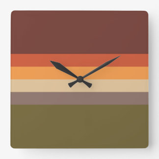 Autumn Colors - Red Orange Yellow Tan Green Brown Square Wall Clock