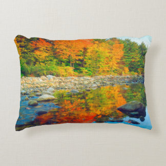 Autumn Colors reflecting in a stream in Vermont Decorative Cushion