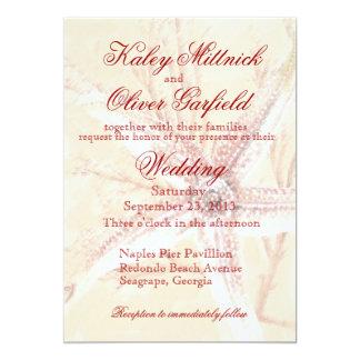 autumn colors starfish wedding invitation