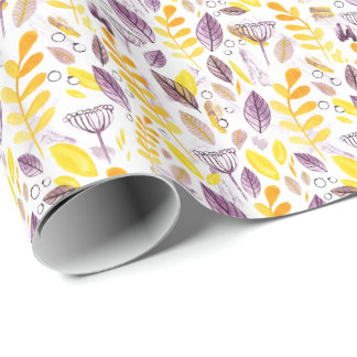 Autumn colors watercolour hand-drawn wrapping papp wrapping paper