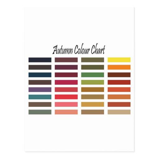 Autumn colour chart postcard