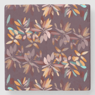 Autumn colours foliage print stone coaster