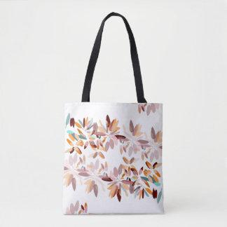 Autumn colours white background foliage print tote bag