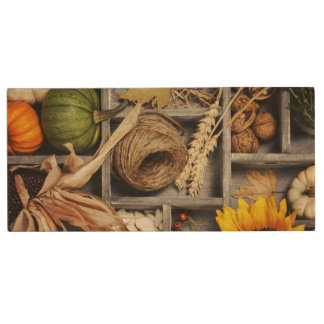 Autumn Composition In Wooden Box Wood USB 2.0 Flash Drive