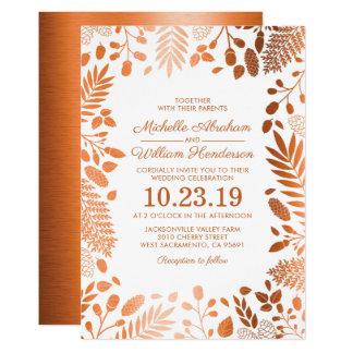 Autumn Copper Rustic Fall Woodland Wedding Card