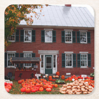 Autumn Country Home Pumpkins For Sale Square Paper Coaster