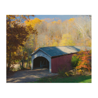 Autumn Covered Bridge Parke County Indiana Wood Wall Art