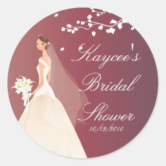 Autumn Crimson Bride Bridal Shower Sticker