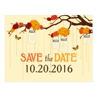 Autumn Dahlia Flower Branch Save the Date Postcard