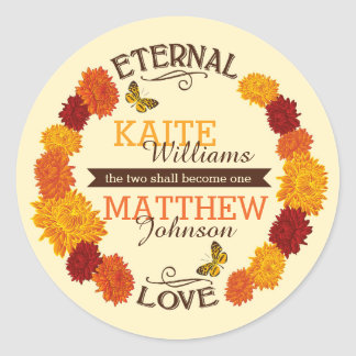 Autumn Dahlia Wreath Wedding Label