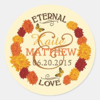Autumn Dahlia Wreath Wedding Label Round Sticker