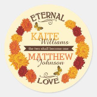 Autumn Dahlia Wreath Wedding Label Round Stickers