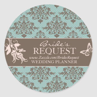 Autumn Damask Business Sticker