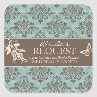 Autumn Damask Business Sticker 2