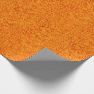 Autumn Damask Orange Wrapping Paper