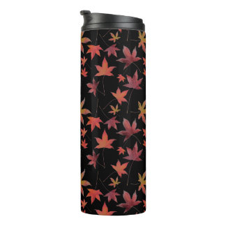 Autumn Dead Leaves over Black Thermal Tumbler